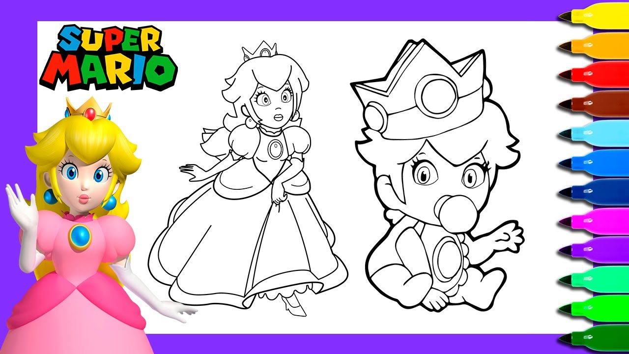Princess Peach Coloring Pages  Coloring Princess Peach and Baby Peach