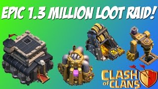 Biggest collector raid ever in Clash of Clans: 1.3 million in resources!
