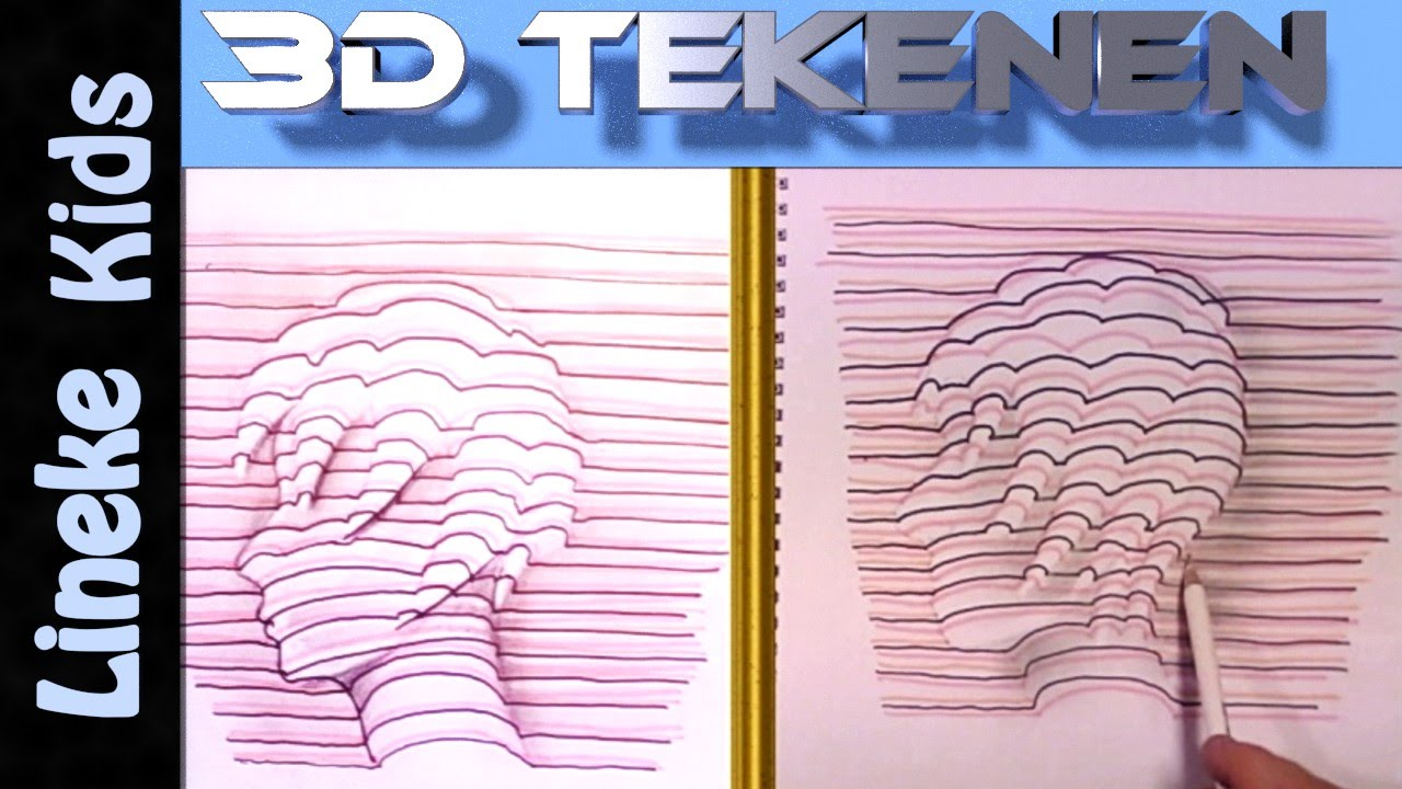 Hoe teken je een hoofd 3d tekenen 2 youtube for Tekenen 3d