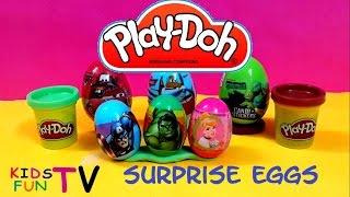 NEW Play Doh Colours Surprise Eggs 2014 Toys Cars 2 Planes Avengers Princess Ninja Turtles Play Doh