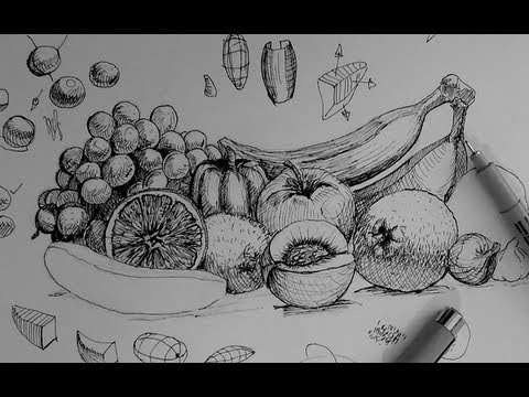 Pen & Ink Drawing Tutorials | How to draw a fruit and ...