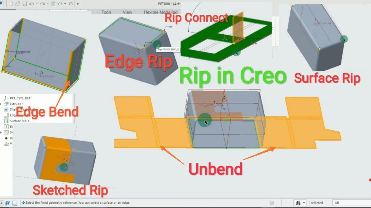 Rip Command In Creo Sheet Metal Design Tutorial 08 Youtube