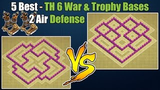 Clash of Clans - Top 5 Best Town hall 6 Defense (Th6) War Base & Trophy Base with 2 Air Defenses