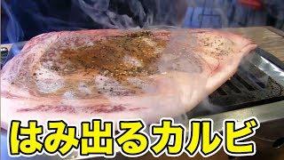 【飯テロ】ほんとにお肉?はみ出るカルビを乱れ食い!