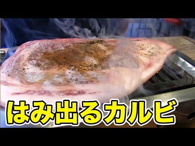 【巨大焼肉】はみ出るカルビを乱れ食い!!!