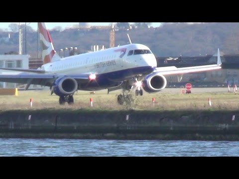 London City Airport Plane Spotting. Strong Wind Day