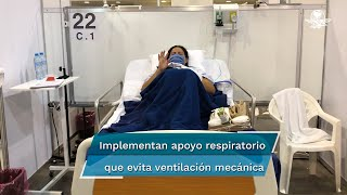 El sonido de una campana dentro de la Unidad Temporal Covid-19 en el Centro Citibanamex es motivo de emoción para pacientes y personal médico, pues significa que una persona más a librado la batalla contra este virus.