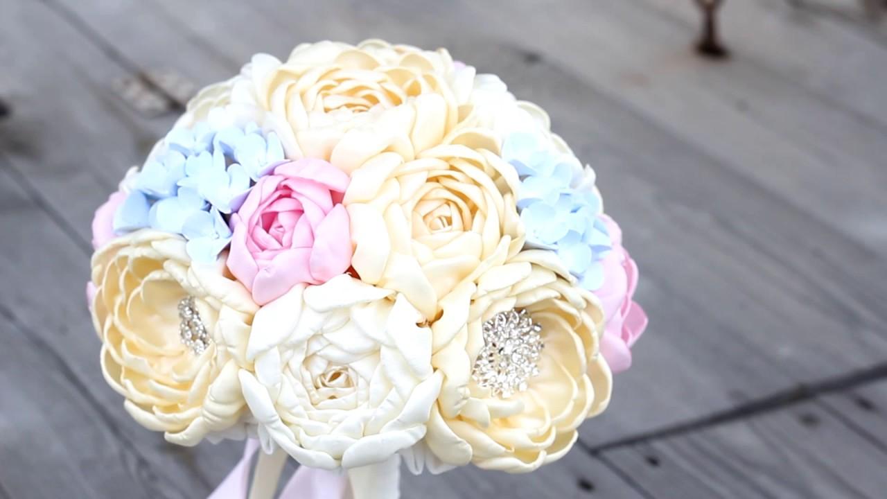 Brooch bouquet, bridal bouquet.Fabric Flower peony, hydrangea ...