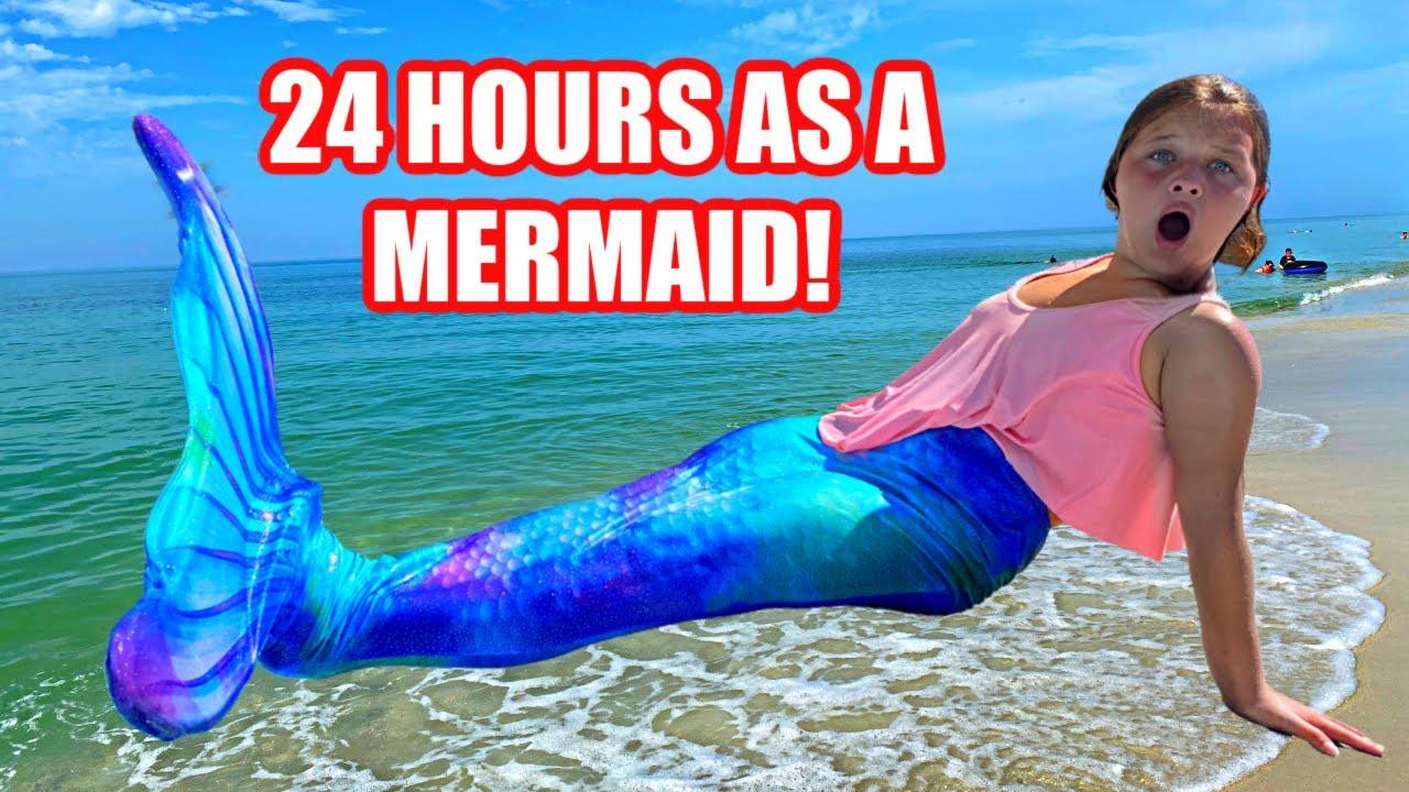 24 Hours as a Mermaid in the Ocean! Aubrey Wears a Mermaid Tail for 24 Hours