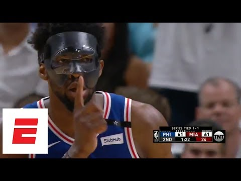Masked Joel Embiid quiets the Miami Heat crowd after hitting a big 3 | ESPN