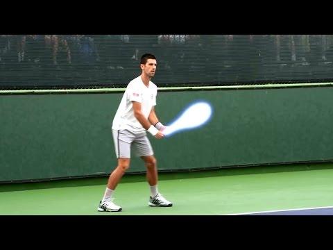 Novak Djokovic playing Star Wars tennis with lightsaber racket