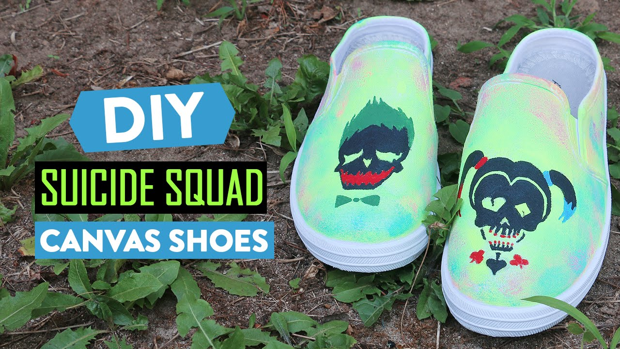 46f42b9b4453 DIY SUICIDE SQUAD CANVAS SHOES   CraftToWin  - YouTube
