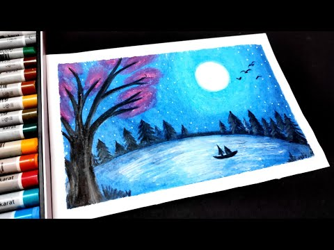 how to draw Moonlight Night Landscape using Oil Pastels