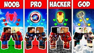 Minecraft NOOB vs PRO vs HACKER VS GOD : SUPERHERO LOVE STORY ADVENTURE in Minecraft | Animation