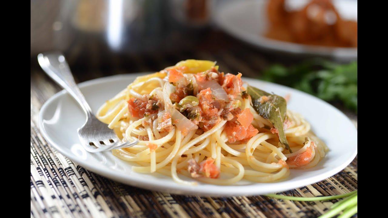 Espagueti con at n a la veracruzana recetas de cuaresma - Como hacer espaguetis al pesto ...