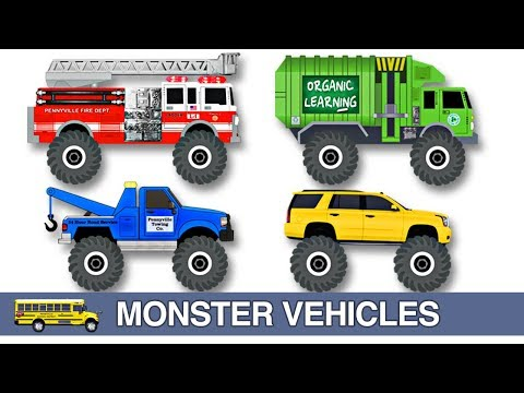 Monster Fire Trucks Teaching Colors Crushing Words Learning Basic Colours Video For Kids Youtube