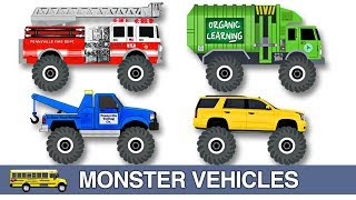 Learning Monster Vehicles Names & Sounds for Kids - Learn Monster Trucks, Cars, Fire Trucks & More