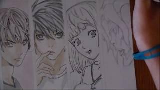 SPEED DRAWING : Ryuk, Light, L, Misa and Remu【Death Note】