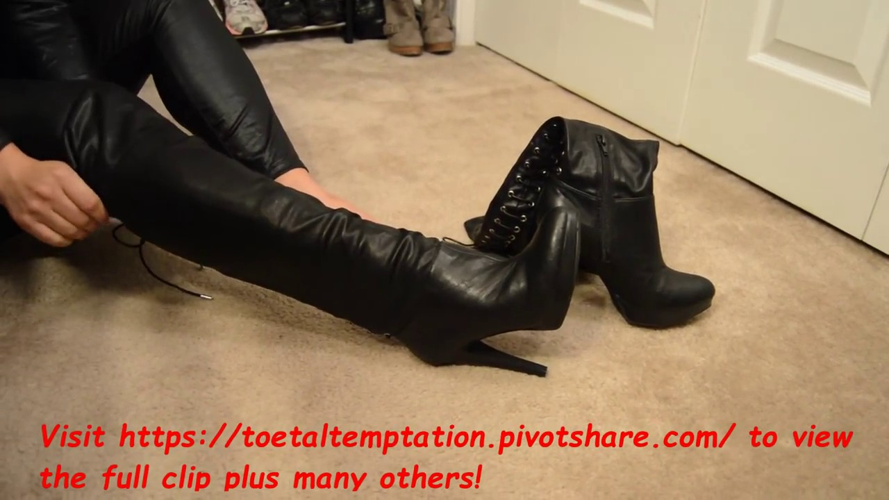 7f41c8b9362 High Heel Thigh Boots and Black Stretch Leather Stiletto