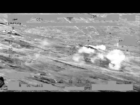 Iraqi Army Aviation Mi-28 Night Hunter destroys ISIS fighters and vehicles in Salahideen