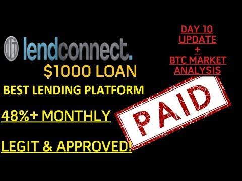 $1000 Loan w/LendConnect Review + BTC Market Analysis | Day 9 Update Lending Platform LCT Review