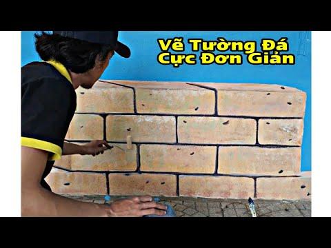 Cách Vẽ Gạch, Đá Đơn Giản| Vẽ Tranh Tường 3D Quán Cafe | Kienart