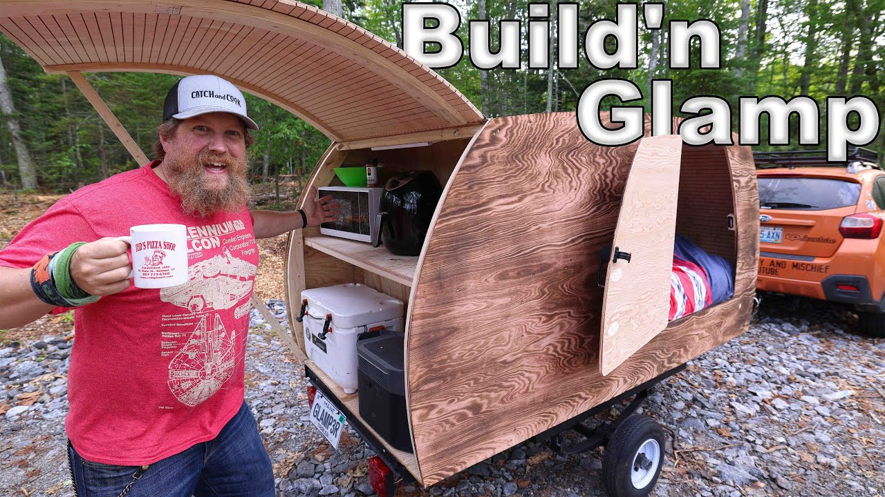 Tiny Glamper Camper Build and Camping - Glamping Build Challenge Vs. @Modern Self Reliance