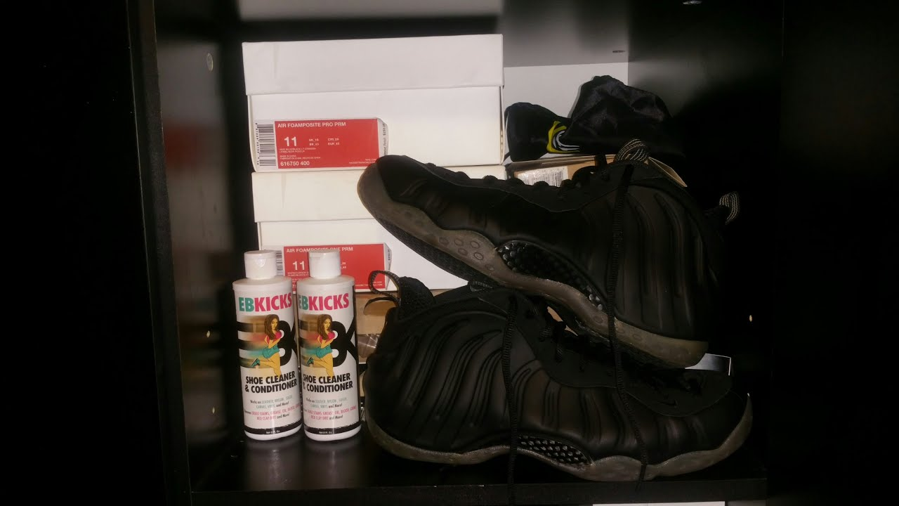 f37b64bd0d281 CLEANING NIKE FOAMPOSITE ONE STEALTH  EBKICKS CLEANER - YouTube