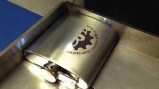 Laser Marking Logo onto Stainless Steel Hipflask
