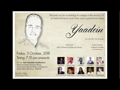 YAADEIN - Musical Extravaganza 5th Oct. 2018 - 7.15pm