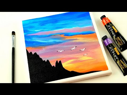 Acrylic painting for beginners | how to paint abstract Beach sunset |  Art challenge # 140