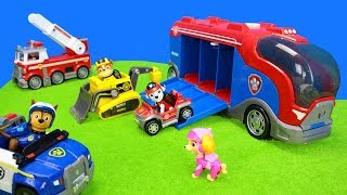 Paw Patrol Vehicles   Marshall Ultimate Fire Rescue Truck & Kiddy Toy Unboxing with all Pups