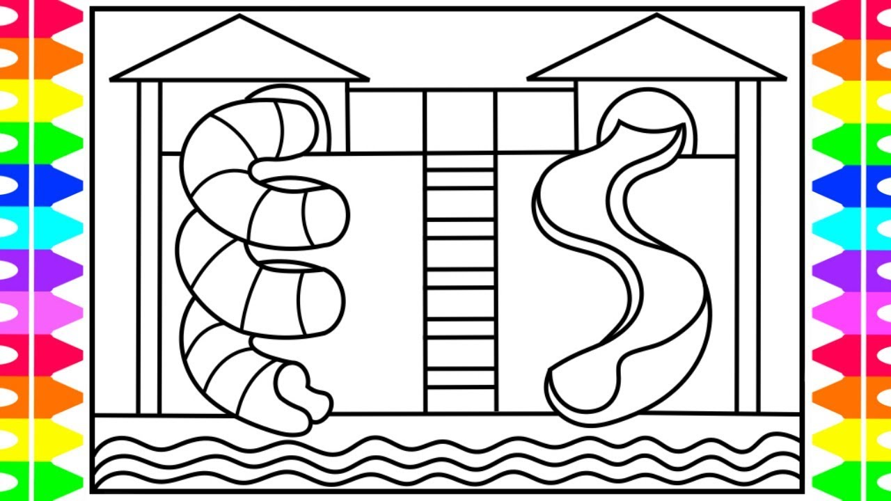 How to draw a swimming pool with a slide for kids for Pool design drawings