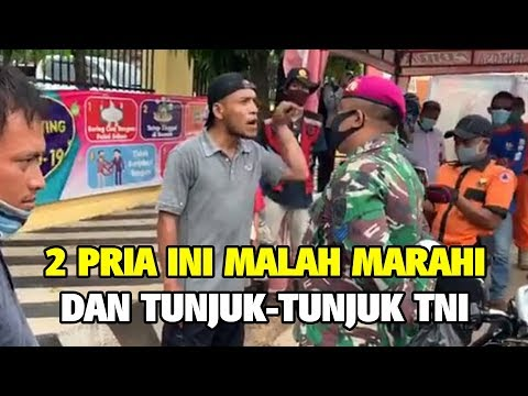 2 Pria Ini Malah Marahi Dan Tunjuk - Tunjuk TNI Saat Ditegur Tidak Pakai Masker