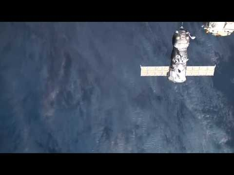 Progress MS-01 docking test with intense thruster firing