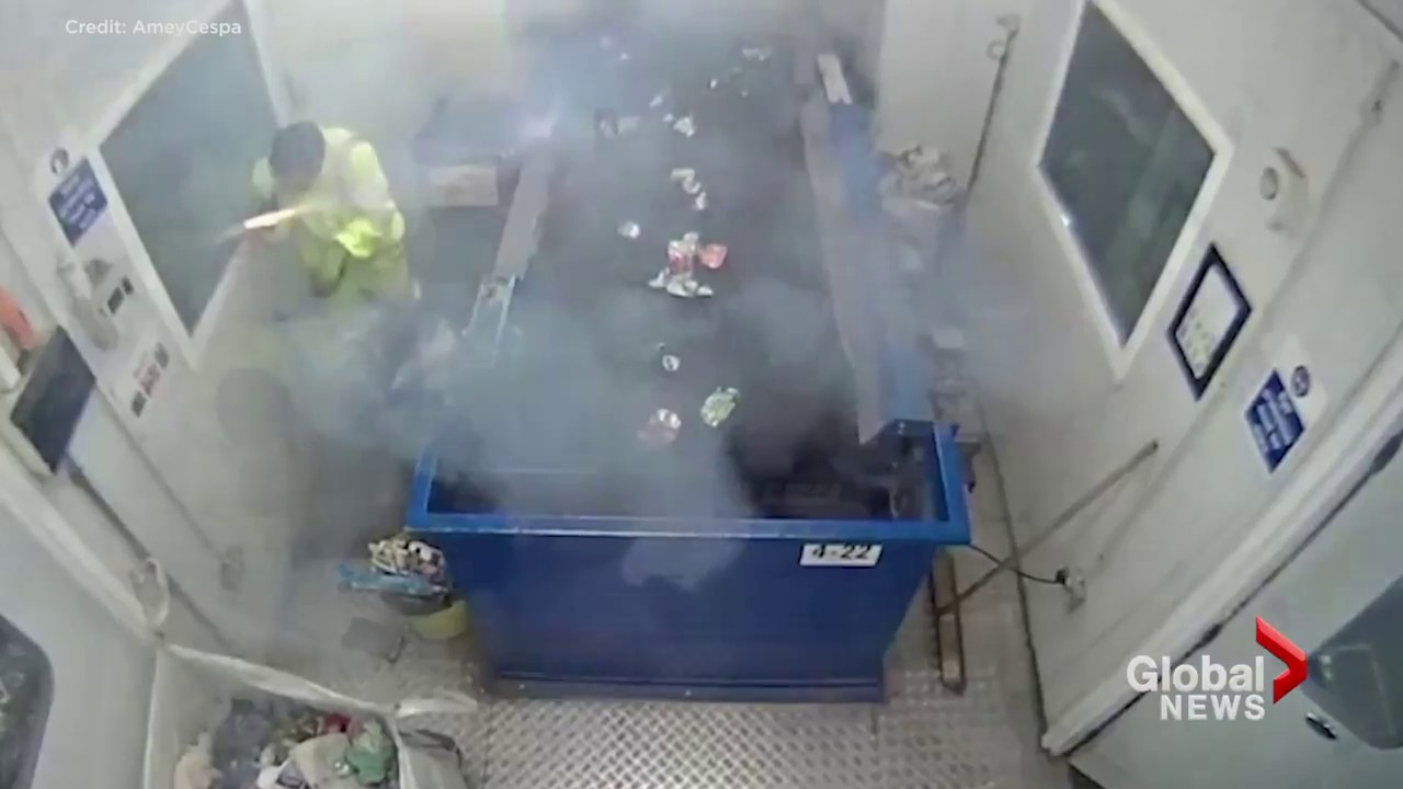 Funny Video: Flare Explodes In a Waste Worker's Hand