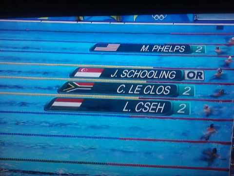 J. Schooling beats M Phelps, C. Le Clos, L. Cseh 100m Butterfly 2016 Olympics RIO