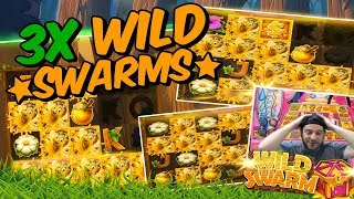 HIGH STAKES SLOTS!! 3X WILD SWARMS CRACKING COMPILATION!