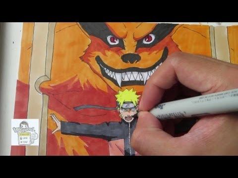Drawing Naruto and Kurama ナルト 九喇嘛