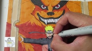 Drawing Naruto and Kurama ナルト 九喇嘛