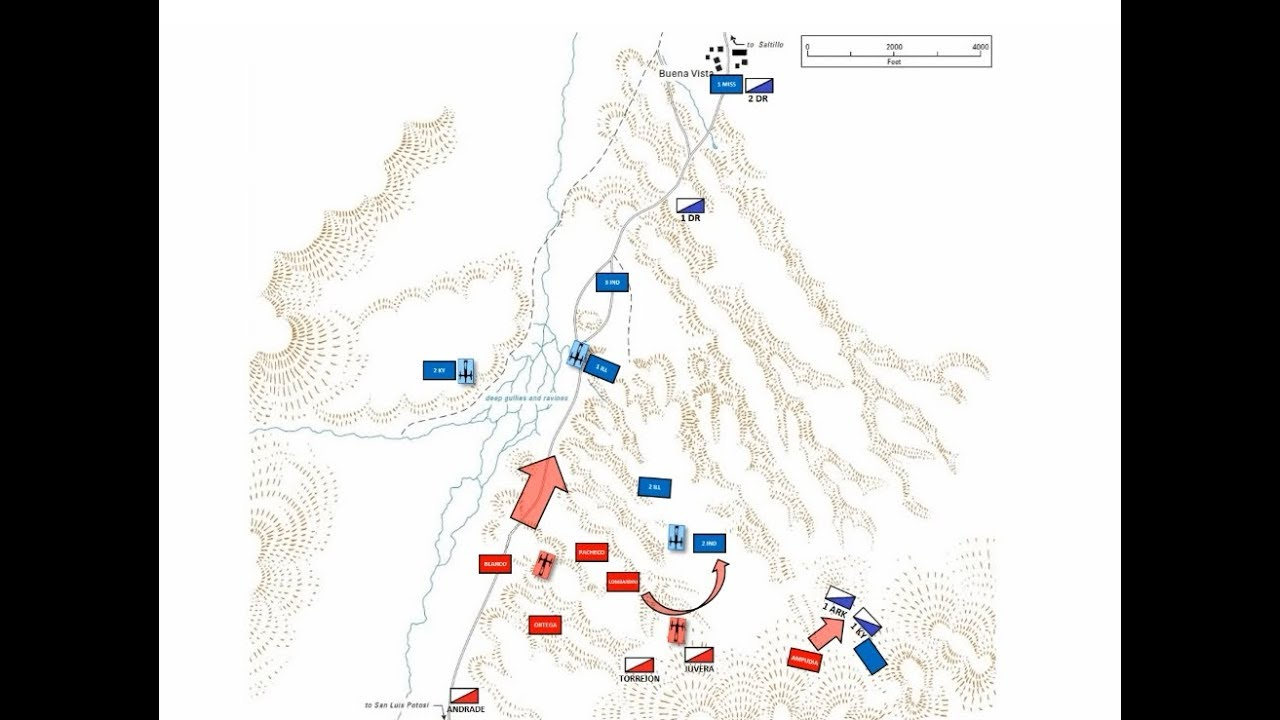 The Battle of Buena Vista 1847 animated battle map YouTube