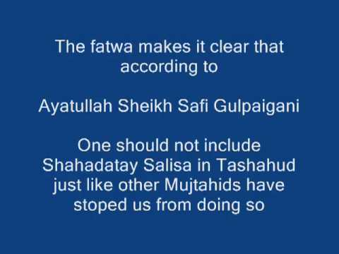 AliunWaliAllah in Tashahud is not allowed. Fatwa Ayatullah Safi Gulpaigani