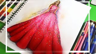 How to Paint Fashion Sketch - Ombre Sparkling Dress