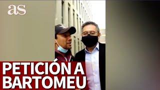 Un fan le pide a BARTOMEU que se quite la mascarilla al salir del JUZGADO | Diario As