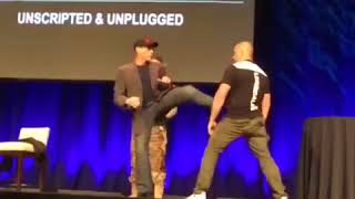 Jean Claude Van Damme Gets Headkicked By A Fan see what happens next