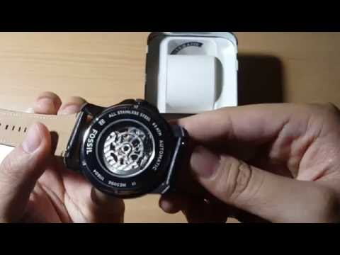 48dc9a24ea52b FOSSIL Grant Black Skeleton Dial Automatic Men s Watch Item No. ME3096 -  UNBOXING   HANDS-ON