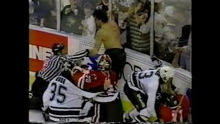 Derian Hatcher vs Chris Chelios & Steve Smith vs Shane Churla / Stars vs Blackhawks Brawl 1995