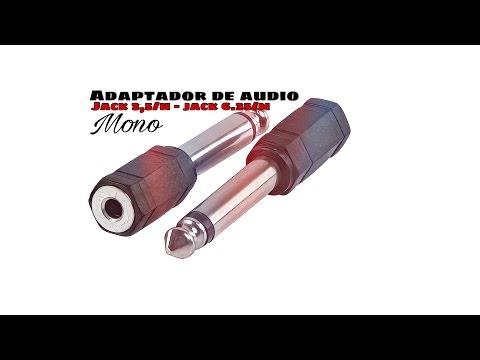 Video de Adaptador audio mono jack 3.5 hembra - jack 6.35 macho  Negro