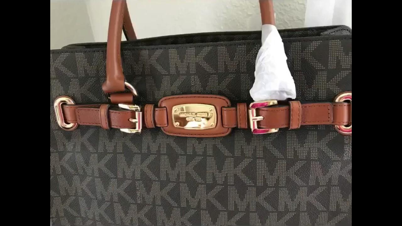 3f7694f7b372 MICHAEL KORS HAMILTON LARGE NS TOTE SHOULDER BAG IN SIGNATURE PVC SIGNATURE  BROWN