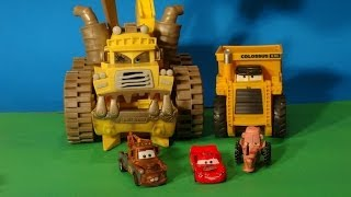 Disney Pixar Cars Re enactment scene with Screaming Banshee, Colossus XXL , Tractor , Lightning McQu